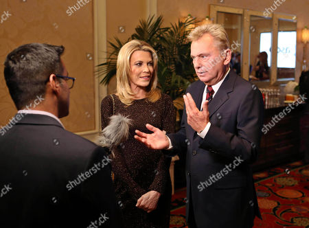 Pat Sajak, Vanna White. Pat Sajak and Vanna White being interviewed by Entertainment Tonight at the NAB Broadcasting Hall of Fame Awards at the Encore Wynn Hotel, in Las Vegas