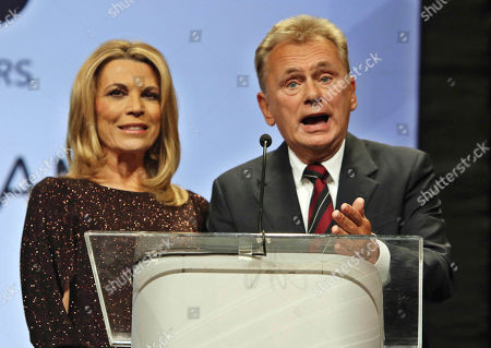 Pat Sajak, Vanna White. Pat Sajak and Vanna White inducted into the NAB Broadcasting Hall of Fame at the NAB Broadcasting Hall of Fame Awards at the Encore Wynn Hotel, in Las Vegas