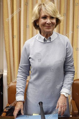 Former regional president of Madrid Esperanza Aguirre arrives to appear before the Lower House in Parliament's investigation committee on the alleged illegal funding of People's Party (PP), in Madrid, Spain, 10 April 2018.