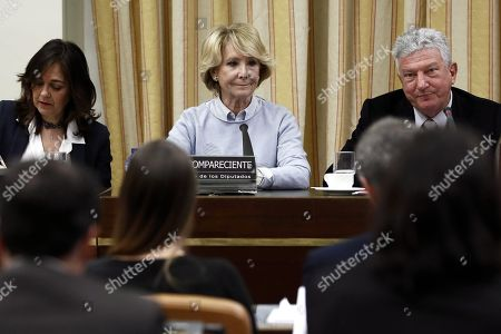 Former regional president of Madrid Esperanza Aguirre appears before the Lower House in Parliament's investigation committee on the alleged illegal funding of People's Party (PP), in Madrid, Spain, 10 April 2018.