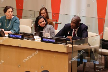 Simone Monasebian, Jayathma Wickramanayake and Dikembe Mutombo during a UNODC Special Event on Crime Prevention and Sustainable Development through Sports