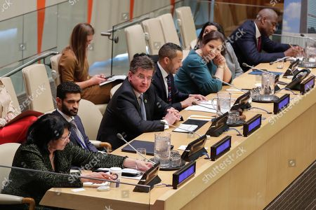 Miroslav Lajcak, Sherwin Bryce-Pearce, Yury Fedotov, Jayathma Wickramanayake and Dikembe Mutombo during a UNODC Special Event on Crime Prevention and Sustainable Development through Sports
