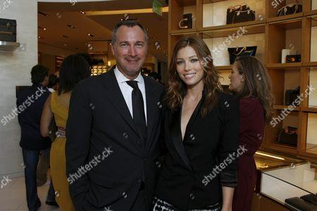 Edward Menicheschi and Jessica Biel wearing Louis Vuitton