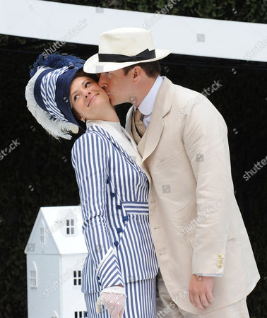 Stock Photo of 'The Importance of Being Earnest'  - Jo Herbert (Gwendolin) and Ryan Kiggell (John)