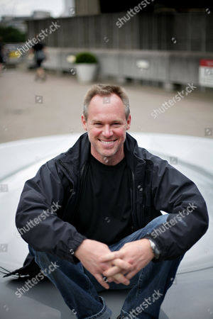 Stock Picture of Artist Peter Newman sitting on his Skystation