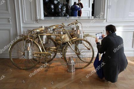 Artwork during exhibition of Indian artist Subodh Gupta