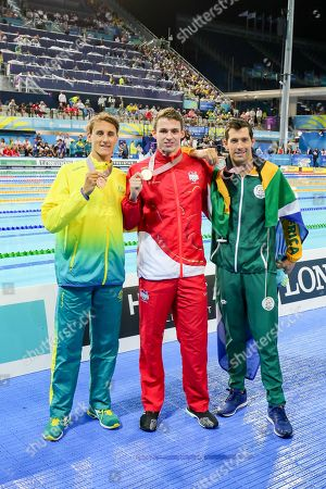 Stock Image of The top 3 in the Men's 50m Freestyle Final of Benjamin Proud (ENG), Bradley Tandy (RSA) and Cameron McEvoy (AUS)
