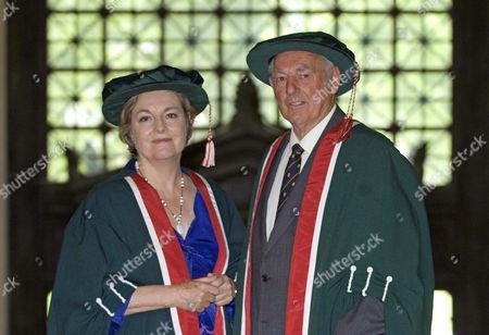 Rachel Lomax and Don Shepherd receiving Honorary Fellowships from Swansea Metropolitan University