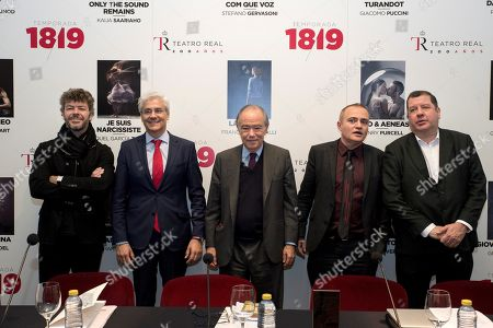 President of the Royal Theater Patronage, Gregorio Maranon (C), Mayor of the Colosseum, Jordi Matabosch (2-R), musical director Pablo Heras-Casado (L), Ivan Bolton (R), orchestral director and Royal Theater General Director, Ignacio Garcia-Belenguer (2-L), present new season during a press conference in Madrid, Spain, 10 April 2018.
