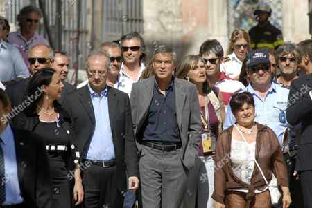Walter Veltroni, George Clooney and President of Province Stefania Pezzopane