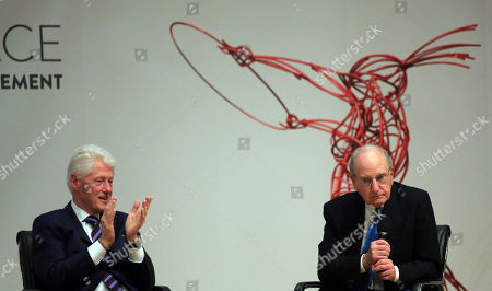 Stock Image of Bill Clinton and George J. Mitchell
