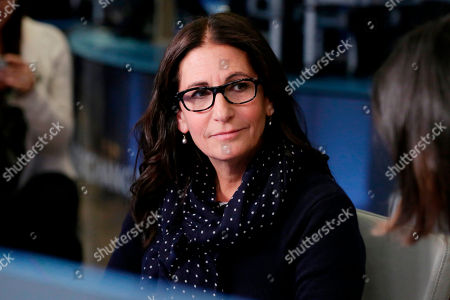 Stock Image of Make-up artist Bobbi Brown is interviewed on Cheddar, on the floor of the New York Stock Exchange