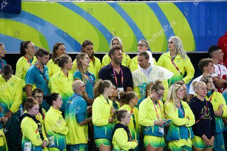 Ian Thorpe enjoying swimming finals with the Australian team on April 10th 2018