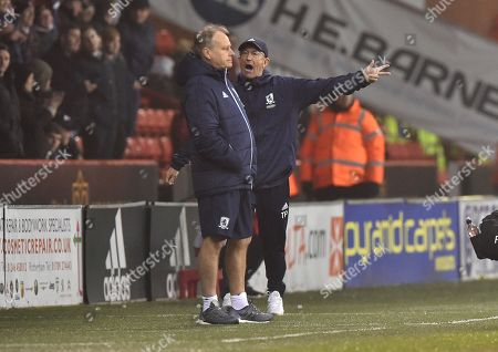 Manager Tony Pulis of Middlesbrough looks dejected after Grant Leadbitter of Middlesbrough is sent off by referee Darren Bond