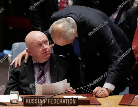 Bashar Ja'afari, Bashar Jaafari. Russian Ambassador to the United Nations Vasily Nebenzya talks with Syrian Ambassador to the U.N. Bashar Ja'afari during a Security Council meeting, at U.N. headquarters