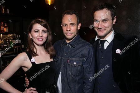 Ophelia Lovibond, Keir Charles (Chris Tarrant) and Henry Pettigrew (Adrian Pollock)