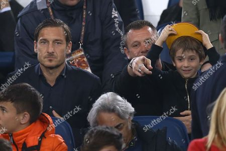 Former Roma players Francescp Totti and Antonio Cassano