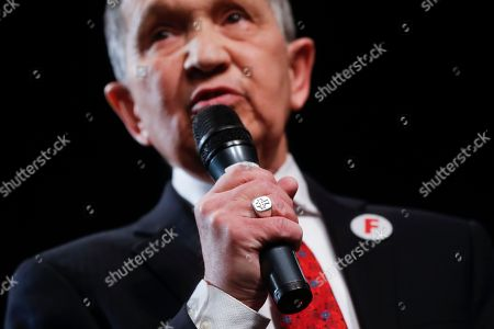 Former U.S. Rep. Dennis Kucinich of Ohio speaks during the Ohio Democratic Party's fifth debate in the primary race for governor, at Miami (OH) University's Middletown campus in Middletown, Ohio