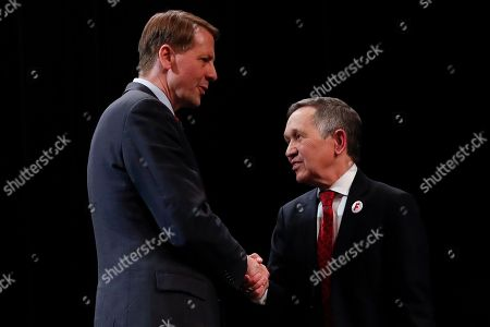 Rich Cordray, Dennis Kucinich. Richard Cordray, former federal consumer protection chief, left, and former U.S. Rep. Dennis Kucinich, right, shake hands after the Ohio Democratic Party's fifth debate in the primary race for governor, at Miami (Ohio) University's Middletown campus in Middletown, Ohio