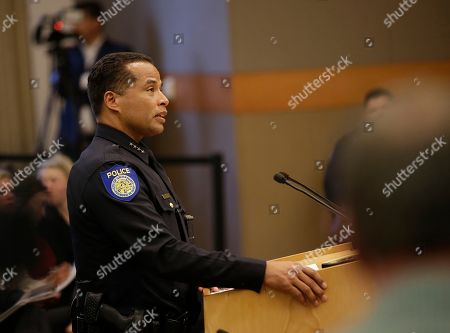 In the wake of the shooting death of Stephon Clark by Sacramento police, Sacramento Police Chief Daniel Hahn discusses some of the questions posed by the Sacramento City Council of how to prevent such incidents, in Sacramento, Calif. Clark, who was unarmed, was killed by two police officers in the backyard of his grandmother's home when they mistook the cellphone he was holding for a gun, March 18