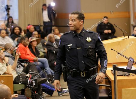 Sacramento Police Chief Daniel Hahn returns to his seat after appearing before the Sacramento City Council, to discuss the shooting of Stephon Clark by Sacramento police. Clark, who was unarmed, was killed by two police officers in the backyard of his grandmother's home when they mistook the cell phone he was holding for a gun, on March 18