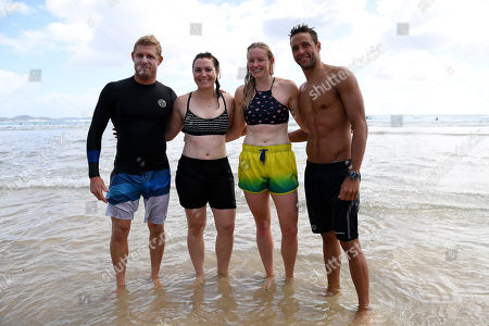 (L-R) Australian surfer Mick Fanning, former Australian cyclist Anna Meares, Australian Paralympic skier and track and field athlete Jessica Gallagher and South African swimmer Chad le Clos, pose for a photograph after taking part in a surf lesson during the XXI Commonwealth Games at Kirra Beach on the Gold Coast, Queensland, Australia, 11 April 2018.