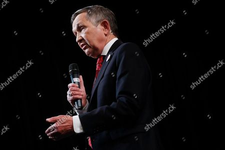 Stock Picture of Former U.S. Rep. Dennis Kucinich of Ohio speaks during the Ohio Democratic Party's fifth debate in the primary race for governor, at Miami (OH) University's Middletown campus in Middletown, Ohio