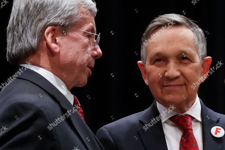 Dennis Kucinich, Bill O'Neill. Former U.S. Rep. Dennis Kucinich of Ohio, right, stands with William O'Neill, former Ohio Supreme Court Justice, before the start of the Ohio Democratic Party's fifth debate in the primary race for governor, at Miami (OH) University's Middletown campus in Middletown, Ohio