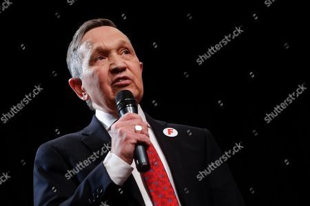 Stock Image of Former U.S. Rep. Dennis Kucinich of Ohio speaks during the Ohio Democratic Party's fifth debate in the primary race for governor, at Miami (OH) University's Middletown campus in Middletown, Ohio