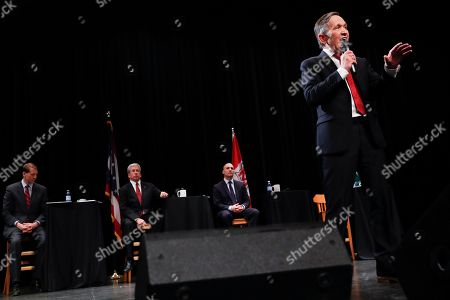 Stock Photo of Former U.S. Rep. Dennis Kucinich of Ohio speaks during the Ohio Democratic Party's fifth debate in the primary race for governor, at Miami (OH) University's Middletown campus in Middletown, Ohio