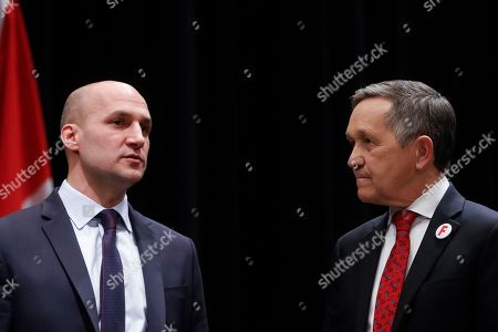 Dennis Kucinich, Joe Schiavoni. Former U.S. Rep. Dennis Kucinich of Ohio, right, stands with Ohio state Sen. Joe Schiavoni, left, before the start of the Ohio Democratic Party's fifth debate in the primary race for governor, at Miami (OH) University's Middletown campus in Middletown, Ohio