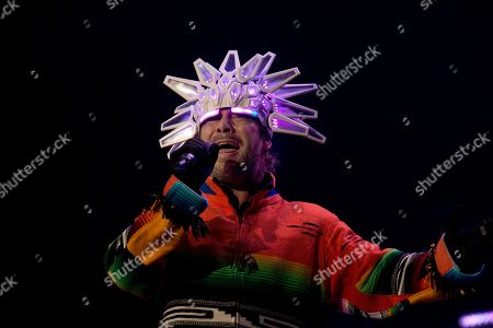 Stock Image of Jason Kay, lead singer of the British Band Jamiroquai, performs in concert in Mexico City