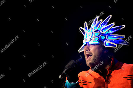 Stock Picture of Jason Kay, lead singer of the British Band Jamiroquai, performs in concert in Mexico City