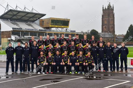 Somerset players wearing the Vitality Blast kit and coaches team photo.  (Back Row) Tim Rouse, Eddie Byrom, Fin Trenouth, Ollie Sale, Paul van Meekeran, Ben Green, Tom Banton, George Bartlett, Josh Davey, Johann Myburgh, (Middle Row) James Alway, Gary Metcalf, Steve Snell, Greg Kennis, Roelof van der Merwe, Steve Davies, Max Waller, Craig Overton, Jamie Overton, Tim Groenewald, Jack Leach, Jamie Thorpe, Joel Tratt, Andrew Griffiths, Paul Tweddle, James Kennedy, (Front Row) Peter Trego, Lewis Gregory, Jason Kerr, Tom Abell, Andy Hurry, Marcus Trescothick and James Hildreth at the media day at Somerset County Cricket Club at the Cooper Associates County Ground, Taunton. Picture by Graham Hunt