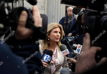 Attorney Lisa Bloom speaks to the media during a break in Bill Cosby's sexual assault trial, at the Montgomery County Courthouse in Norristown, Pa