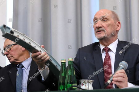 Former Polish Minister of Defence Antoni Macierewicz (R) and British expert Frank Taylor (L) during the conference organized by the subcommision regarding the causes of the Smolensk air crash in 2010 in Warsaw, Poland, 11 April 2018. During the conference a technical report of the subcommision was presented. Poland's President Lech Kaczynski, his wife Maria Kaczynska and 94 others died on 10 April 2010 when Polish presidential plane crashed in Smolensk, Russia.