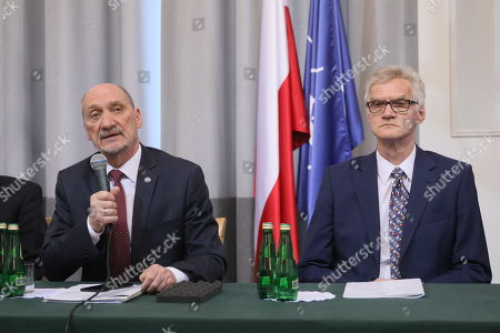 Former Polish Minister of Defence Antoni Macierewicz (L) and member of the subcommission Kazimierz Nowaczyk (R) during the conference organized by the subcommision regarding the causes of the Smolensk air crash in 2010 in Warsaw, Poland, 11 April 2018. During the conference a technical report of the subcommision was presented. Poland's President Lech Kaczynski, his wife Maria Kaczynska and 94 others died on 10 April 2010 when Polish presidential plane crashed in Smolensk, Russia.