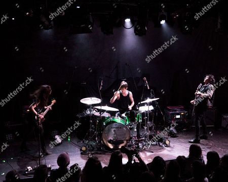 Nicole Emery, Bradford Lee Conroy, Robertson Furze. The British rock band The Big Pink performs as the opener for Wolf Alice at the Paradise Rock Club, in Boston. From left to right are bass player Nicole Emery, drummer Bradford Lee Conroy, and lead guitarist and vocalist Robertson Furze