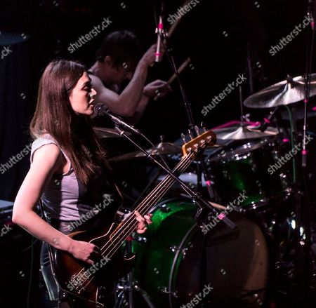 Nicole Emery, Bradford Lee Conroy. The British rock band The Big Pink with bass player Nicole Emery and drummer Bradford Lee Conroy performs as the opener for Wolf Alice at the Paradise Rock Club, in Boston