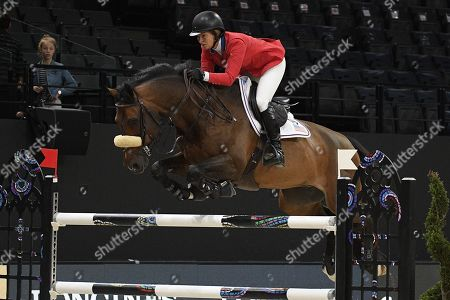 """Elizabeth Madden riding """"Breitling LS"""" during the FEI World Cup"""