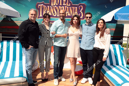 Writter/Director Genndy Tartakovsky, Kathryn Hahn, Keegan-Michael Key, Selena Gomez, Andy Samberg and Producer Michelle Murdocca at the photo call for HOTEL TRANSYLVANIA 3: SUMMER VACATION for Sony Pictures Animation Press Day.