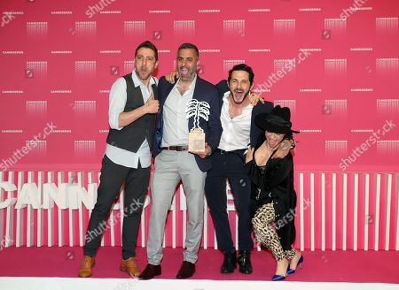 Stock Image of Israeli actor Moshe Ashkenazi (L), Israeli director Omri Givon (2-L), Israeli actors Tomer Capon (2-R) and Ninet Tayeb (R) pose during the award winners photocall after they won the Best Series award for the TV series 'When Heroes Fly' at the 1st Cannes International Series Festival, in Cannes, 11 April 2018. The festival runs from 04 to 11 April.
