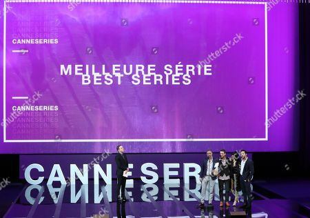 US actor Michael C. Hall (L), Israeli director Omri Givon (2-L), Israeli actors Moshe Ashkenazi (C), Ninet Tayeb  (2-R) and Tomer Capon (R) attend the award winners ceremony after they won the Best Series award for the TV series 'When Heroes Fly' at  the 1st Cannes International Series Festival, in Cannes, 11 April 2018. The festival runs from 04 to 11 April.