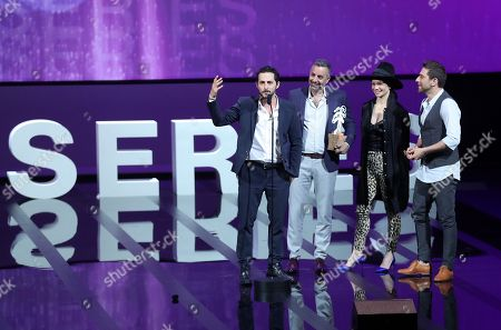 Israeli actor Tomer Capon (L), Israeli director Omri Givon (2-L), Israeli actors Ninet Tayeb (2-R) and Moshe Ashkenazi (R) attend the award winners ceremony after they won the Best Series award for the TV series 'When Heroes Fly' at  the 1st Cannes International Series Festival, in Cannes, 11 April 2018. The festival runs from 04 to 11 April.