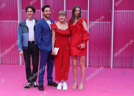 Stock Image of Norwegian actor Amund Harboe (L), British actor Bart Edwards (2-L), actress Malene Wadel (2-R) and actress Anne Regine Ellingsaeter (R) arrive at the Closing Awards Ceremony of the 1st Cannes International Series Festival, in Cannes, 11 April 2018. The festival runs from 04 to 11 April.