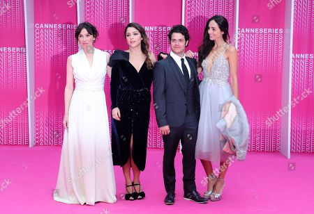 Spanish actress Ariadna Gil (L), Colombian actress Paulina Davila (2-L), Mexican actor Alfonso Dosal (2-R), his wife Solana Azulay (R) arrive at the Closing Awards Ceremony of the 1st Cannes International Series Festival, in Cannes, 11 April 2018. The festival runs from 04 to 11 April.
