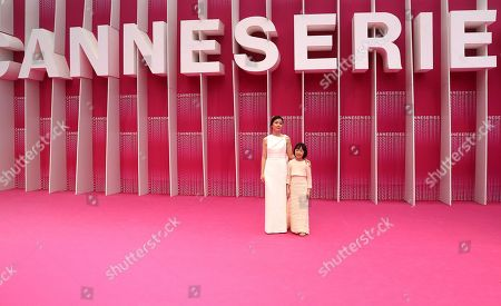 South Korean actresses Lee Bo Young (L) and Heo Yool (R) arrive at the Closing Awards Ceremony of the 1st Cannes International Series Festival, in Cannes, 11 April 2018. The festival runs from 04 to 11 April.
