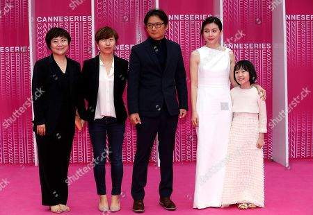 South Korean screenwriter Jeong Seo-Gyeong (L), South Korean actress Park Jee Young (2-L), South Korean director Kim Cheol-Kyu (C), South Korean actresses Lee Bo Young (2-R) and Heo Yool (R) arrive at the Closing Awards Ceremony of the 1st Cannes International Series Festival, in Cannes, 11 April 2018. The festival runs from 04 to 11 April.