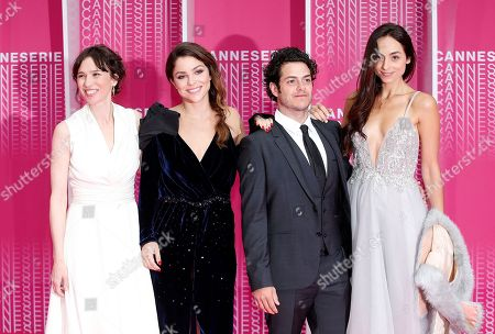 Stock Image of Spanish actress Ariadna Gil (L), Colombian actress Paulina Davila (2-L), Mexican actor Alfonso Dosal (2-R), his wife Solana Azulay (R) arrive at the Closing Awards Ceremony of the 1st Cannes International Series Festival, in Cannes, 11 April 2018. The festival runs from 04 to 11 April.