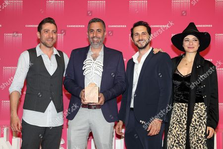 Israeli actor Moshe Ashkenazi (L), Israeli director Omri Givon (2-L), Israeli actors Tomer Capon (2-R) and Ninet Tayeb (R) pose during the award winners photocall after they won the Best Series award for the TV series 'When Heroes Fly' at the 1st Cannes International Series Festival, in Cannes, 11 April 2018. The festival runs from 04 to 11 April.